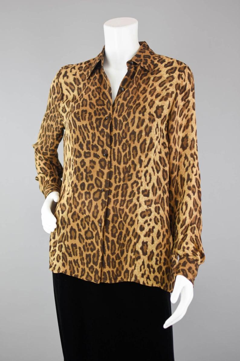 01a6d078d705 90s Ralph Lauren Animal Print Blouse Vintage Long Sleeve | Etsy