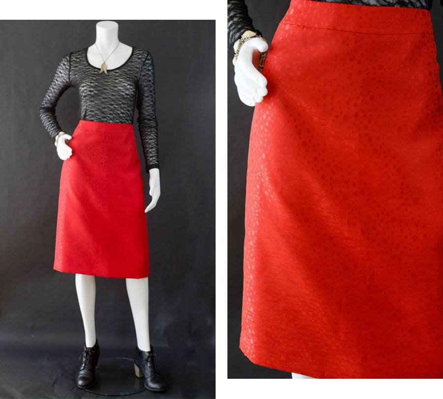 f4b563f4c9a Valentine s Day Skirt Red High Waisted Skirt Metallic