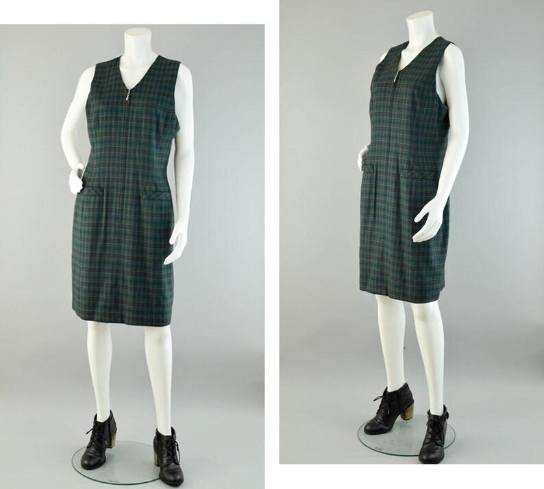 bcd016ad6 90s Plaid Zip Up Jumper Dress Vintage Green V-neck Shift   Etsy