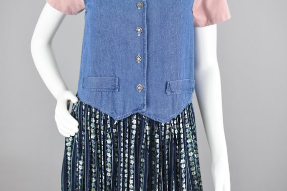 90s Jean Dress, Blue Flower Pattern Midi, Green S… - image 4