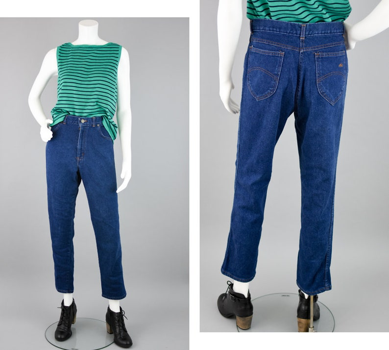 0f5732c31c258 80s High Waisted Mom Jeans Vintage Relaxed Fit Denim Pants