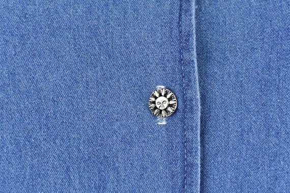 90s Jean Dress, Blue Flower Pattern Midi, Green S… - image 3