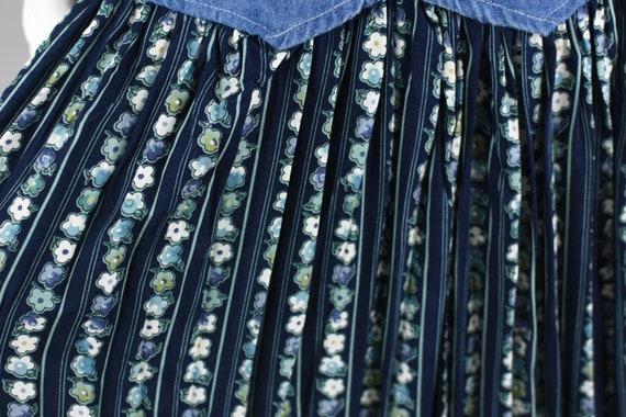 90s Jean Dress, Blue Flower Pattern Midi, Green S… - image 8