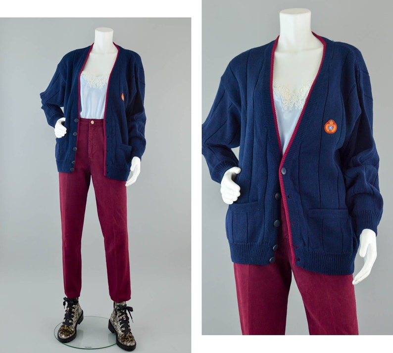 305db615349b 90s Chunky Knit Cardigan Vintage 90s Oversized Button Down