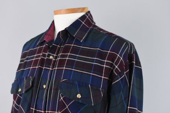 Vintage and Rare 70/'s VIP Wool Long Sleeve Flannel Shirt Size Medium