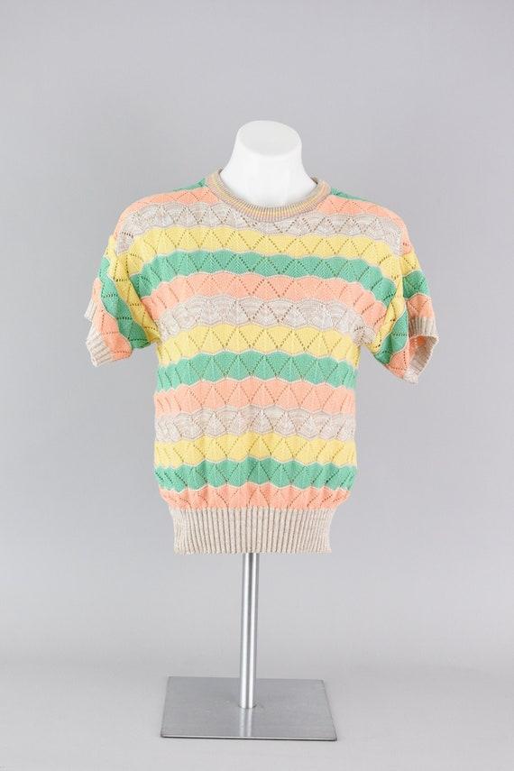 Short Sleeve Top, Vintage 80s Striped Pastel Rainb