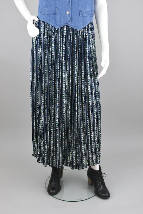90s Jean Dress, Blue Flower Pattern Midi, Green S… - image 7