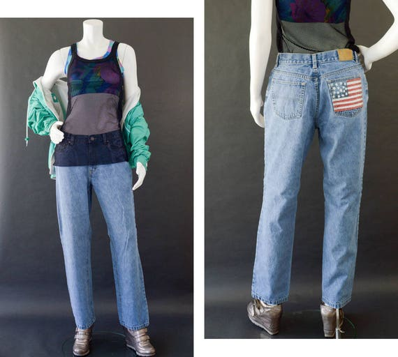 TOMMY HILFIGER jeans flag Spell Out Rare Size S  VTG 90s Style Women's
