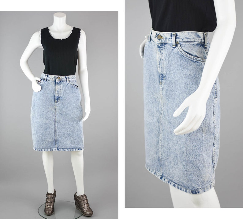 b00413c1290 80s Lee Riders Denim Skirt Vintage High Waisted Knee Length