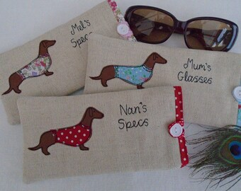 c8c8c6126f8f Handmade Personalised Dachshund Sausage Dog Glasses Spectacles Case Oatmeal  Linen Choice of wording & design, Mothers Day Dog Lover Gift