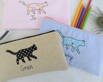 Handmade Personalised Girls Ladies Purse Pouch or Pencil Case Choice of name embroidered /& colour Elephant applique floral lining gift mum