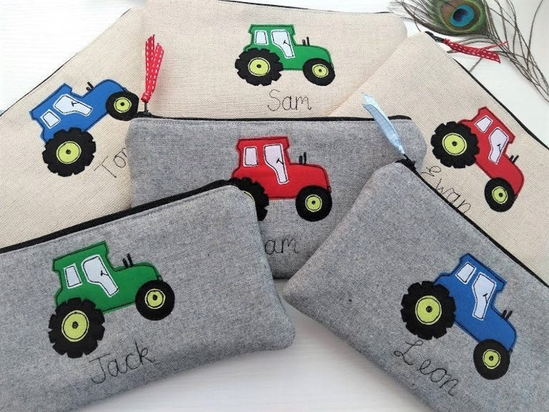 Handmade Personalized Red Tractor Pencil case Grey wool