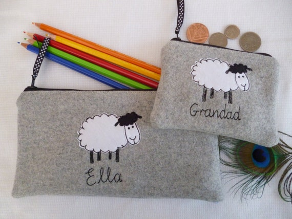 Personalised Sheep Purse//Wallet or Pencil Case Grey Wool or Linen Word Choice