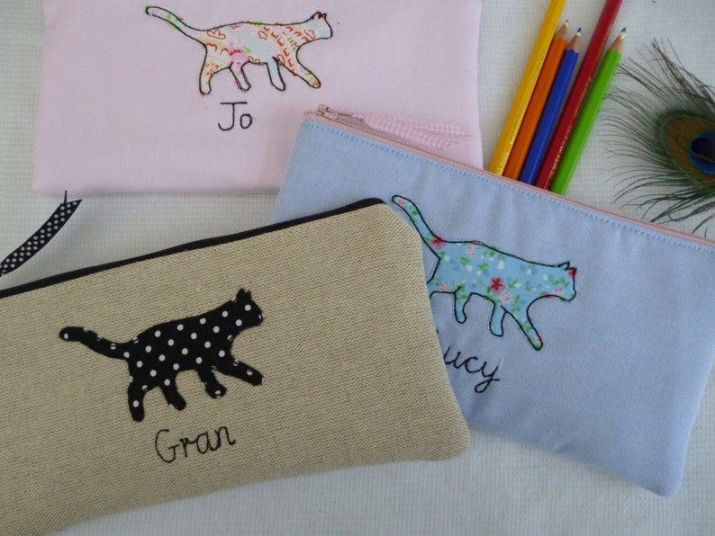 Cat Applique Handmade Personalised Children/'s Girl/'s Ladies Pencil case or costmetic bag floral print Choice of name choice of fabric