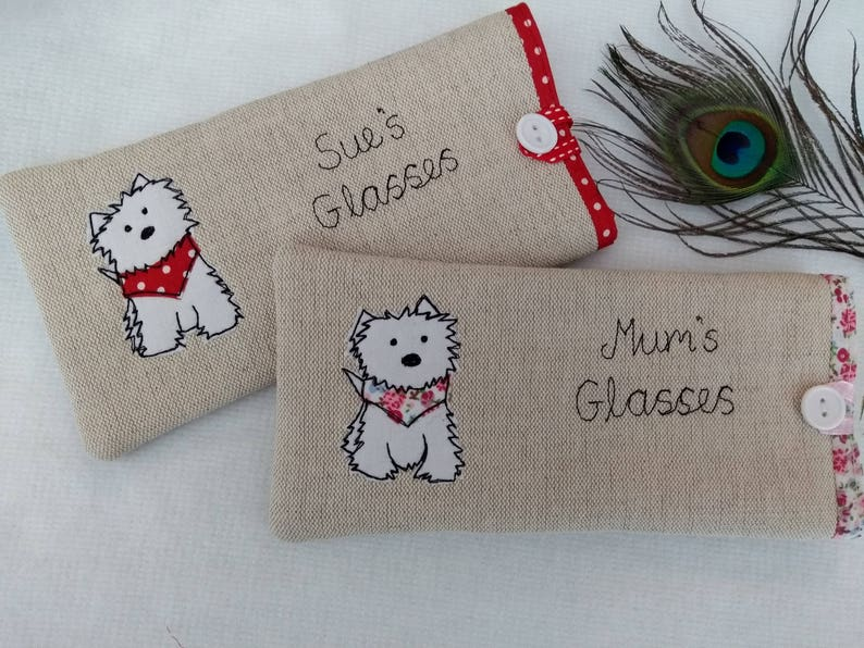 Handmade Personalised Scottie Dog Glasses Spectacles Case Linen or Grey Choice of name or wording personalization Terrier Dog Lover Gift