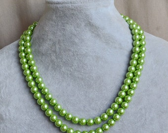 5d1b9dfae10 lime green pearl Necklace