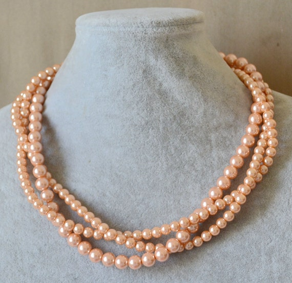 Peach Pearl NecklacesGlass Pearl Necklace Triple Pearl
