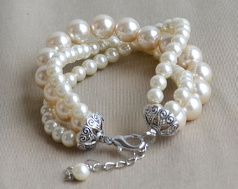 Champagne Pearl Bracelet,Glass Pearl Bracelet,Pearl Bracelet,Wedding Bracelet,3 rows pearl bracelet,Bridesmaid Bracelet,Jewelry