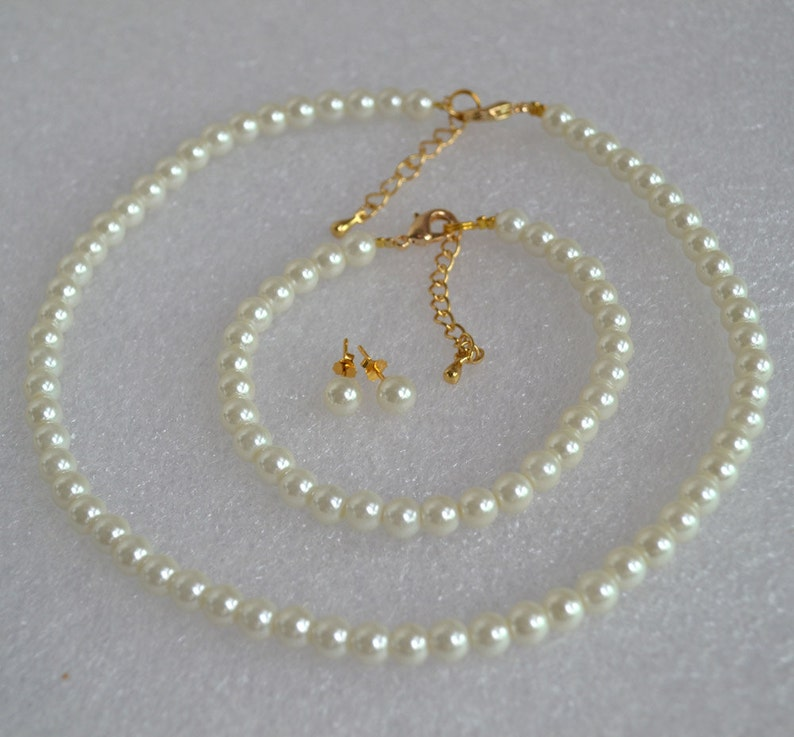 glass pearl set,flower girl pearl set pearl set glass pearl with gold clasp set wedding jewelry set,bridesmaid jewelry set pearl set
