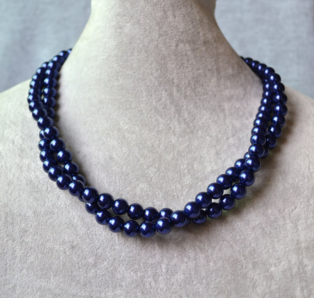 fa00291a4 Navy Blue Pearl NecklaceNavy Glass Pearl Necklace Two row   Etsy