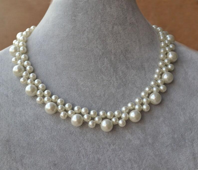 721c868de06e Collar de perlas de marfil o blanco collar de perlas collar