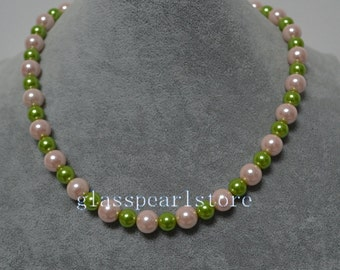 pink and green pearl Necklace, 8mm and 10mm glass pearl bead Necklace,Wedding jewelry,bridesmaid jewelry,single strand mixed color jewelery