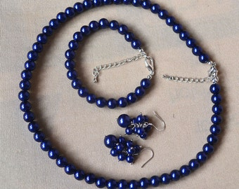 navy blue pearl set, single-strand pearl set, Wedding Necklace, navy pearl necklace, navy pearl bracelet, navy pearl earrings, navy blue set