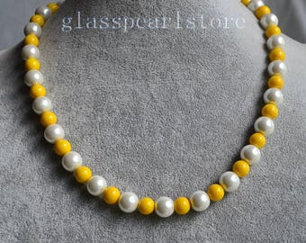 yellow and white Necklace, 8mm and 10mm glass pearl bead Necklace, bridesmaid jewelry,single strand mixed white and yellow color jewelery