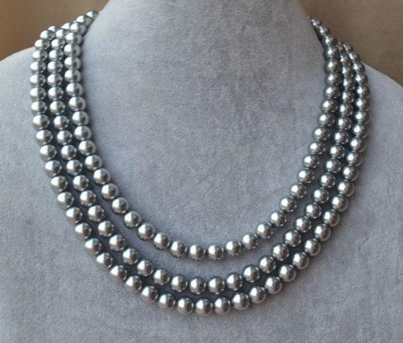 Grey Pearl NecklaceTriple NecklaceWedding