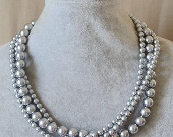 gray pearl Necklace,Wedding Necklace,bridesmaid necklace,grey bead necklace,Jewelry,gray pearl necklace,Glass Pearl Necklace
