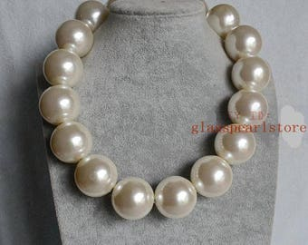 30 mm pearl necklace, man pearl necklace, women necklace, dancing party necklace, large pearl necklace, very big pearl necklace
