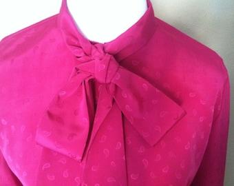 Hot Pink Oleg Cassini Blouse // Fuschia Secretary Blouse // Pussy Bow Blouse // Paisley Print Button-down Shirt // Designer // Size 10