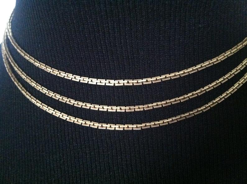 12K Gold-Filled Vintage Set  2 Necklaces  1 Bracelet  Greek Key