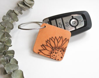 Sunflower Key Tag, Honeybee Leather Key Chain, Luggage Tag, Burned