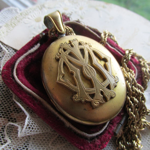Victorian Monogram Locket. STATEMENT Locket and Ch