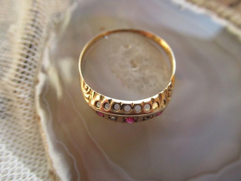 Antique 9ct Gold Ruby Diamond Ring Size U.S 7 34 U.K P Edwardian Maker LBS Gypsy Ring
