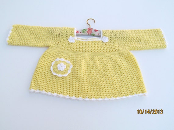 c50c58bd3c1a Crocheted Sweater Yellow with White Trim for Toddler Girl
