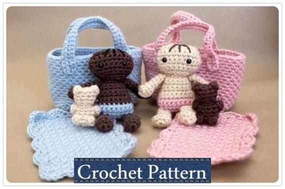 Amigurumi PATTERN Crochet Baby Doll Playset Moses Basket With Etsy Mesmerizing Crochet Baby Doll Pattern