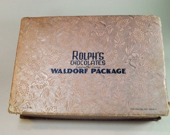 Old Pink Candy Box Rolph's Chocolates Waldorf Package Made in Portland Oregon Cardboard Candy Box