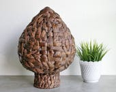 Large Amphora Style Basket Vessel Greek Shape Mediterranean Eclectic Boho Cottage Country Design Decor