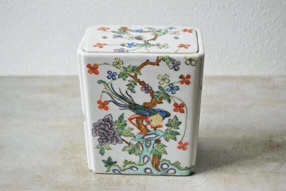 Etsy & Vintage ACF Porcelain Flower Frog Vase Pillow / Flower Display / Made in Japan Decorated in Hong Kong
