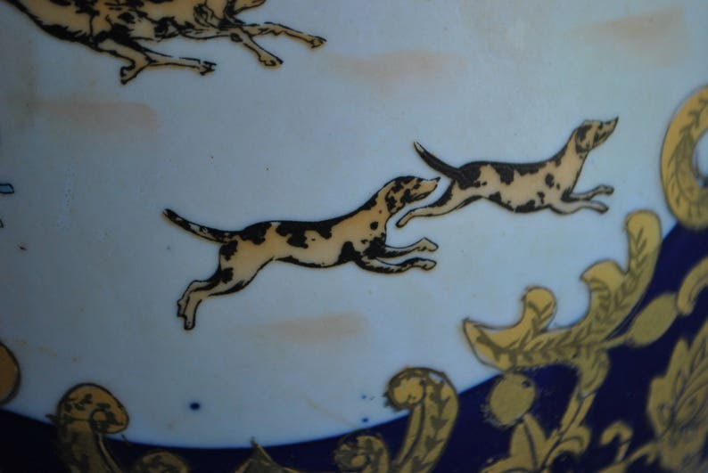 Price reduced Large 13.75 Tall Chinese Porcelain Egg  English Hunting Scene  Foxhounds  Chinoiserie Decoration