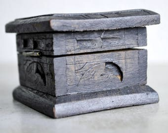Old Small Carved Wooden Box