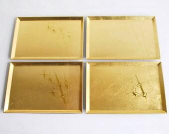 Set of 4 Vintage Golden Hand Crafted Otigiri Sushi Trays Plastic Bamboo Design Japan Asian Dining Accessory Trinket Trays