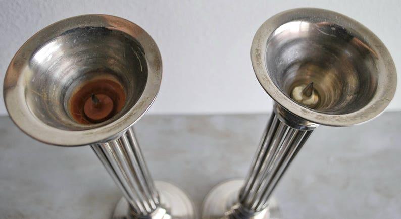 18 Tall Art Deco Candlesticks  Statement Pieces  Silver Vintage Unique Design  Eclectic Cottage Hollywood Regency Boho Design