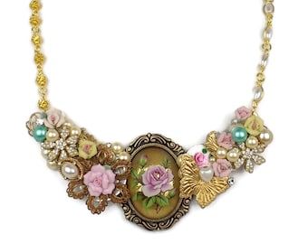 Collage Jewelry, Collage Necklace, Assemblage, Bridal, Roses, Floral, Flowers, Pink, Pearl, Gold, Vintage, Rhinestones, Bib Statement Piece