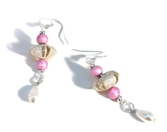 Rose Pink Fun Silver Saucer Beaded Earrings w/Glass White Pearl Drops, Silver Plated, Nickle Free