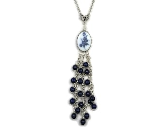 Lapis Lazuli Beaded Fringe Flower Cameo Silver Plated Pendant Necklace, Dark Navy Blue, Cobalt Blue, Antique Roses, Pansies Pansy Floral
