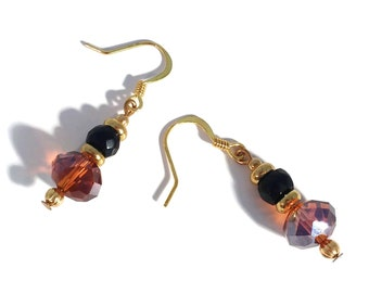 Topaz Brown & Black Beaded Petite Gold Plated Drop Earrings Autumn Jewelry Neutral Jewelry Sparkling Earrings Crystal Earrings