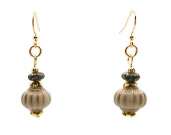 Cream & Green Lantern Earrings, Nickel Free, Gold Plated Brass, Short Dainty Earrings, Off White, Aladdin Lamp Earrings, Genie Bottle
